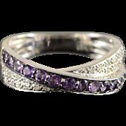 14K 0.60 Ctw Amethyst Diamond Overlapping Ring Size 6 White Gold