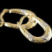 14K Textured Huggie Hoop Earrings Yellow/White Gold