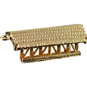 14K Vintage Covered Bridge Charm/Pendant Yellow Gold