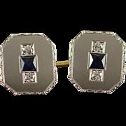 Platinum & Yellow Gold 1.57 CTW Diamond Sapphire Vintage Cuff Link
