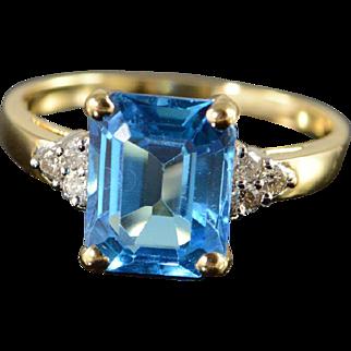 14K 3.60 CTW Blue Topaz Diamond Ring Size 7.25, Yellow Gold