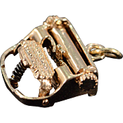 14K Retro Typewriter Writer 3D Articulated Charm/Pendant Yellow Gold