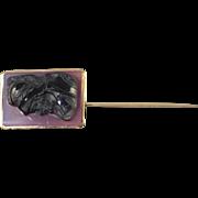 14K Vintage 22x16mm Roman Stone Cameo Stick Pin Yellow Gold