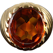 14K 13.00 CT Citrine Statement Ring Size 6.5 Yellow Gold