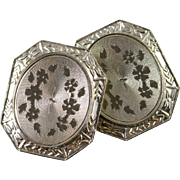 14K Antique Floral Motif Cuff Link Yellow/White Gold