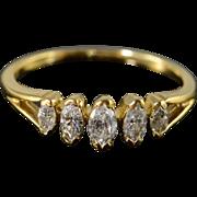 18K 0.60 CTW Marquise Diamond Wedding Band Ring Size 8.5 Yellow Gold