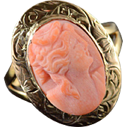 10K Victorian Carved Pink Cameo Adjustable Ring Size 5.75 Yellow Gold