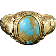 14K Egyptian Revival Turquoise Vintage Ring Size 3.75 Yellow Gold