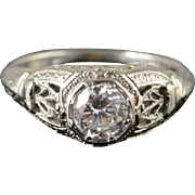 18K 0.54 CT F/VS2 Round Diamond Antique Filigree Engagement Ring Size 4 White Gold