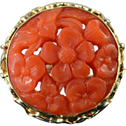 Victorian 14K 19mm Carved Coral Ring Size 6.25 Yellow Gold