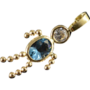 14K Blue December Birthstone Month Baby Person Charm/Pendant Yellow Gold