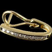 "14K 0.60 CTW Diamond Channel Set 3/4"" Hoop French Clip Earrings Yellow Gold"