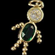 10K Green Birthstone Baby Charm/Pendant Yellow Gold
