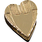 14K Victorian Engraved Heart Slide Bracelet Charm/Pendant Yellow Gold