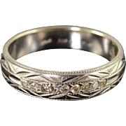 14K 0.10 CTW Diamond Inset Engraved Wedding Band Ring Size 7 White Gold