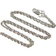 "14K 1.2mm Loose Link Necklace 17.75"" White Gold"
