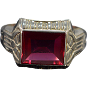 Art Deco 14K Red Glass Ring Size 6 White Gold