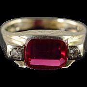 14K Victorian Engraved 0.10 CTW Diamond Ring Size 8 White Gold