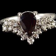 14K 1.40 CTW Garnet Diamond Ring Size 6 White Gold