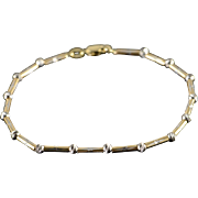 "14K Ball & Tube Hollow Diamond Cut Bracelet 7.5"" Yellow Gold"