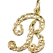 14K Filigree 'B' Monogram Letter Script Charm/Pendant Yellow Gold