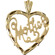 14K Mother Word Cutout Heart Charm/Pendant Yellow Gold
