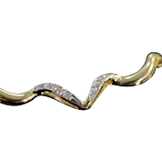 "14K 0.10 Ctw Diamond Wavy Link Necklace 20"" Yellow Gold"