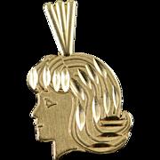 14K Girl Silhouette Head Charm/Pendant Yellow Gold