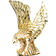 14K Landing Bald Eagle American Charm/Pendant Yellow Gold