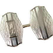 10K Engraved Vintage Cuff Link White Gold