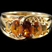 14K 1.70 CTW Citrine 5 Stone Ring Size 7 Yellow Gold