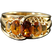 14K 1.70 CTW Citrine 5 Stone Ring Size 7 Yellow Gold