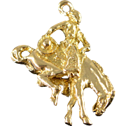 14K Cowboy Horse Rodeo Rider 3D Charm/Pendant Yellow Gold