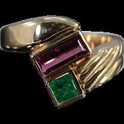 14K 1.62 Ctw Emerald & Pink Tourmaline Geometric Ring Size 10.25 Yellow Gold