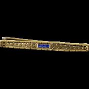 10K Vintage Filigree Bar Pin/Brooch Yellow Gold