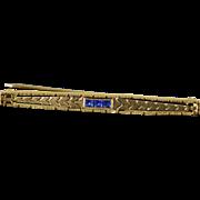 10K Art Deco Filigree Bar Pin/Brooch Yellow Gold