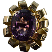 14K 9.84 Ct Oval Amethyst Ribbon Halo Ring Size 6.5 Yellow Gold