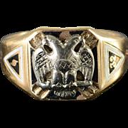 10K Vintage Mason Masonic Eagle Men's Ring Size 13 Yellow Gold