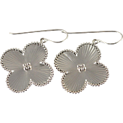 14K Daisy Ball Accented Flower Hook Earrings White Gold