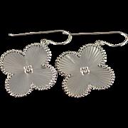 14K Daisy Ball Accented Flower Hook Earrings White Gold