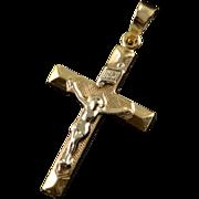 14K Jesus on Cross Crucifix Charm/Pendant Yellow Gold
