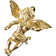 14K Angel Wing Baby Child Cherub Charm/Pendant Yellow Gold