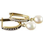 14K 6mm Pearl Diamond Cuff Hoop Earrings Yellow Gold