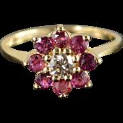 14K 1.00 CTW Ruby & Diamond Flower Halo Ring Size 6.5 Yellow Gold