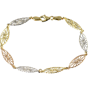 "14K Tri Color Filigree Oval Link Bracelet 7.25"" Yellow Gold"