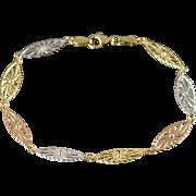 """14K Tri Color Filigree Oval Link Bracelet 7.25"""" Yellow Gold"""