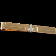 14K Diamond Encrusted Masonic Mason Vintage Money Clip/ Tie Bar Yellow Gold