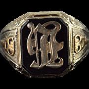 10K Vintage Monogram Letter H F R Ornate Ring Size 9.25 Yellow Gold