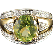 14K 3.80 CTW Green Peridot Diamond Ring Size 7.25 Yellow Gold