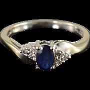 10K 0.60 CTW Sapphire Diamond Ring Size 7 White Gold